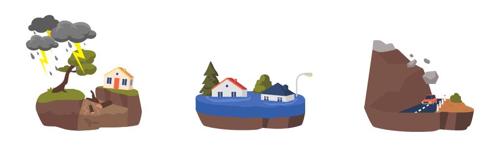 ゲリラ豪雨、大雨による洪水や土砂崩れなどの自然災害